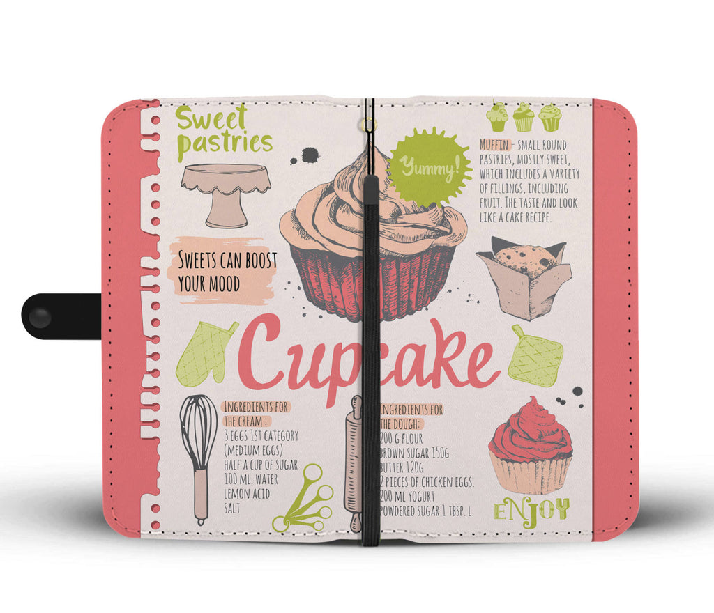 Cupcake Recipe Wallet Phone Case