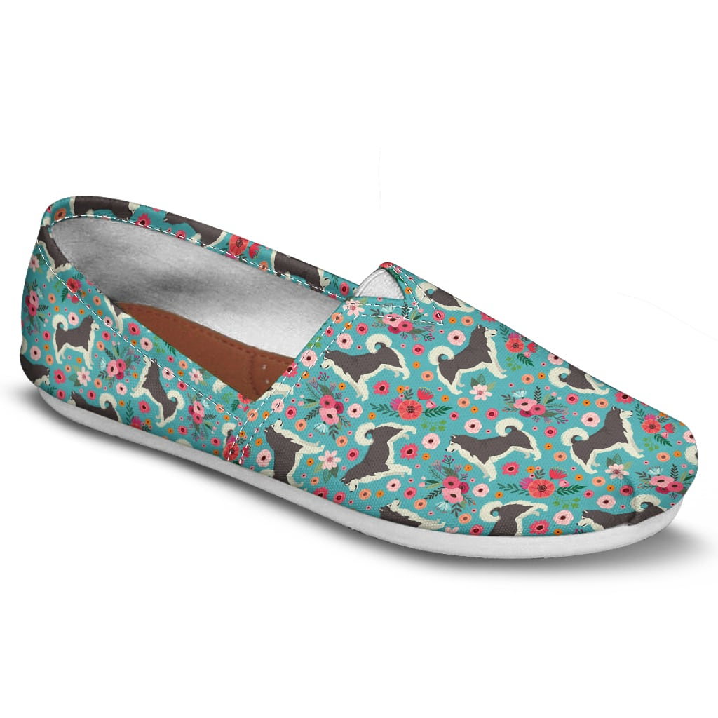 Alaskan Malamute Flower Casual Shoes-Clearance