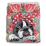 Floral Boston Terrier Bedding Set