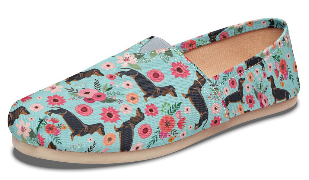 Black Dachshund Flower Casual Shoes