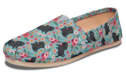 Black Pug Flower Casual Shoes-Clearance