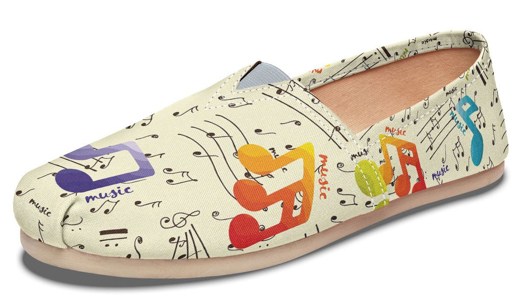 Colorful Music Notes Casual Shoes
