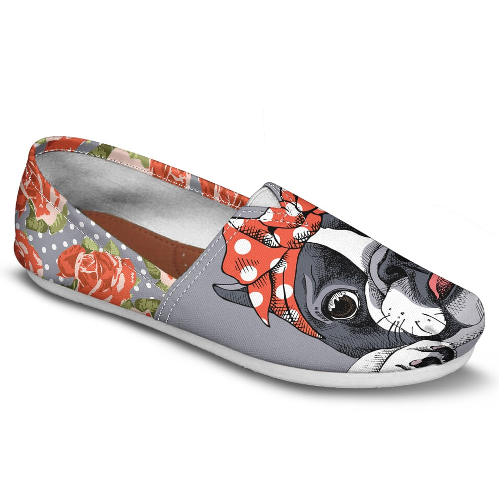 Floral Boston Terrier Orange Casual Shoes