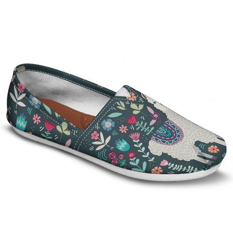 Floral Llama Casual Shoes