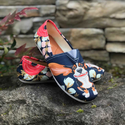 Floral Basset Hound Casual Shoes