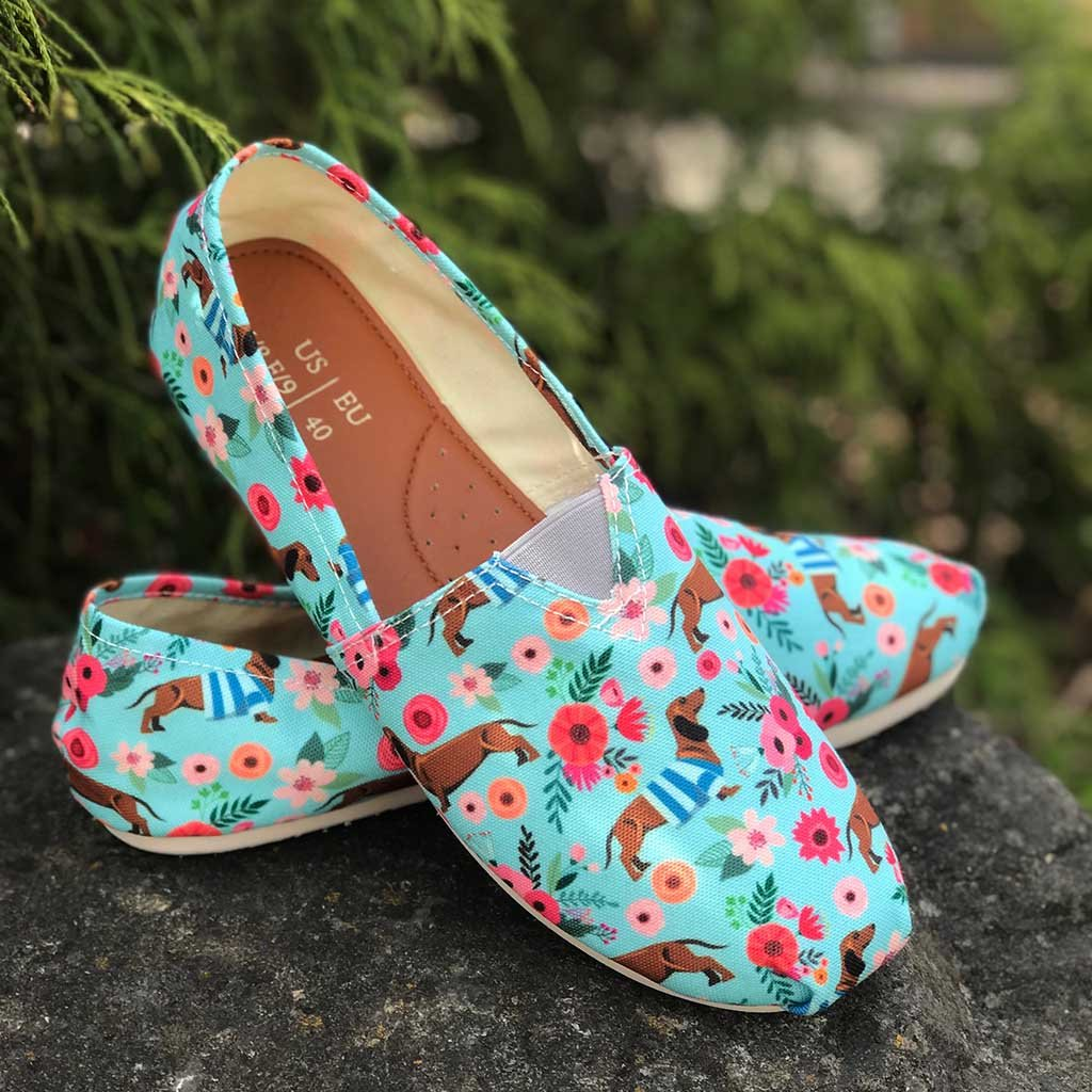 Dachshund Flower Casual Shoes