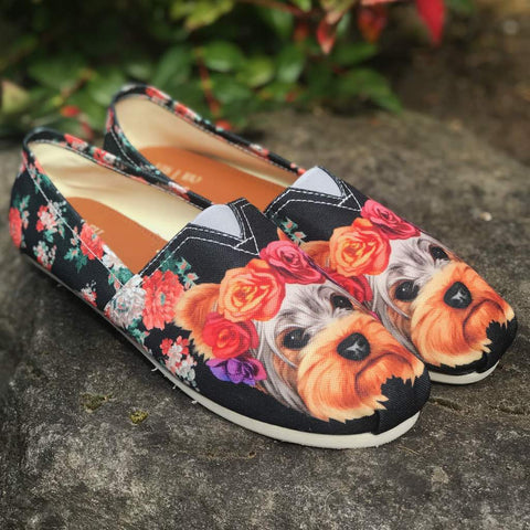 Floral Yorkie Casual Shoes