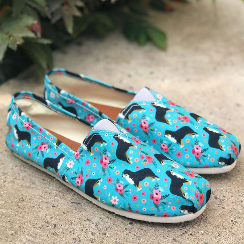 Bernese Mountain Dog Flower Casual Shoes