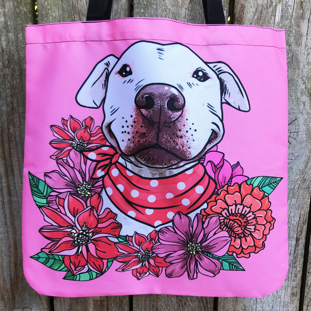 Illustrated Pit Bull Linen Tote Bag