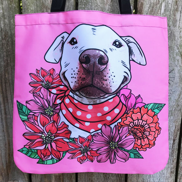 Illustrated Pit Bull Linen Tote Bag Groove Bags