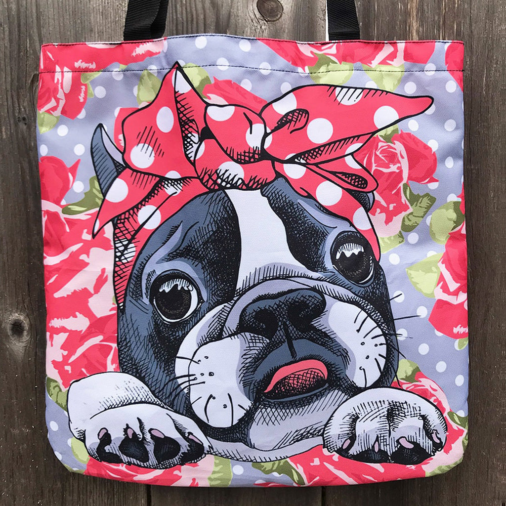Floral Boston Terrier Linen Tote Bag