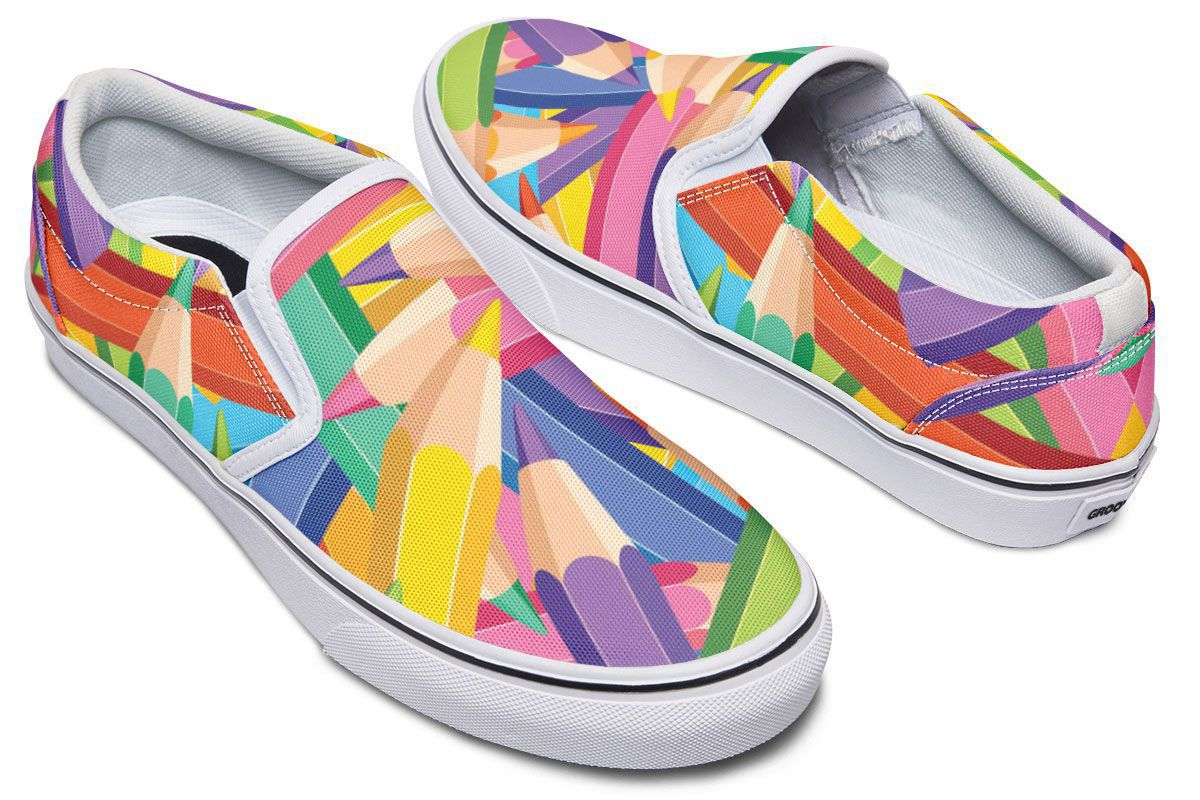 Colorful Pencils Slip-On Shoes