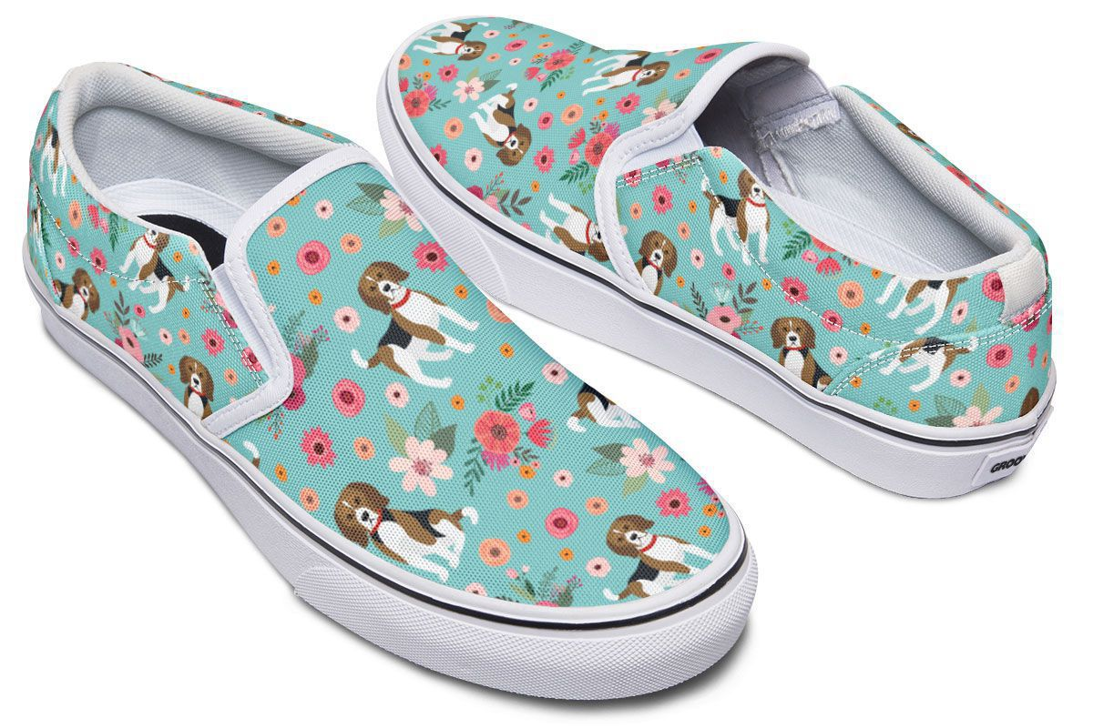 Cute Beagle Flower Slip-On Shoes