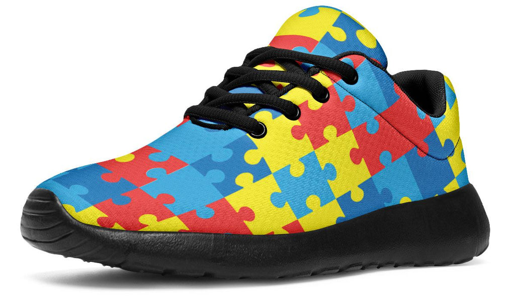 Boys Girls Casual Lace-up Sneakers Running Shoes Autism Awareness Puzzle Heart Colorful Dots