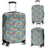 Bulldog Flower Luggage Cover