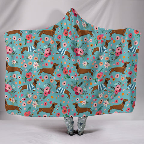 Dachshund Flower Hooded Blanket