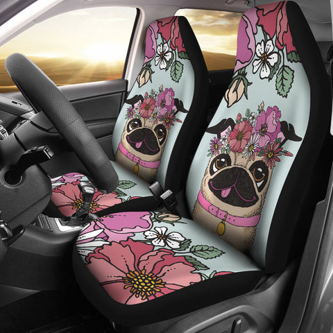 Floral Pug Car Seat Covers