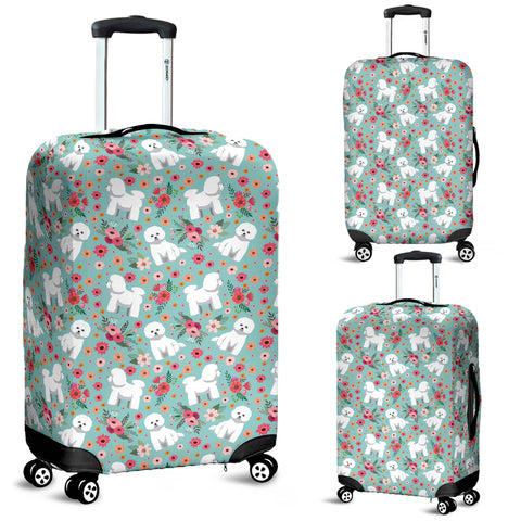 Bichon Frise Flower Luggage Cover