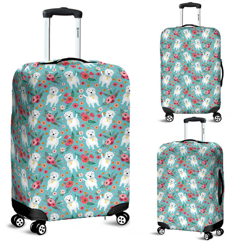 Westie Flower Luggage Cover