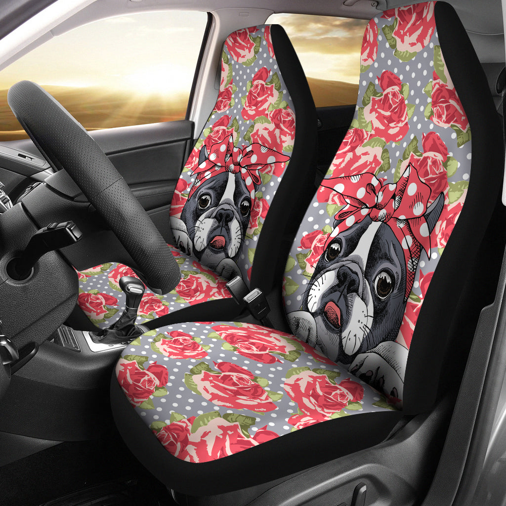 Floral Boston Terrier Car Seat Covers