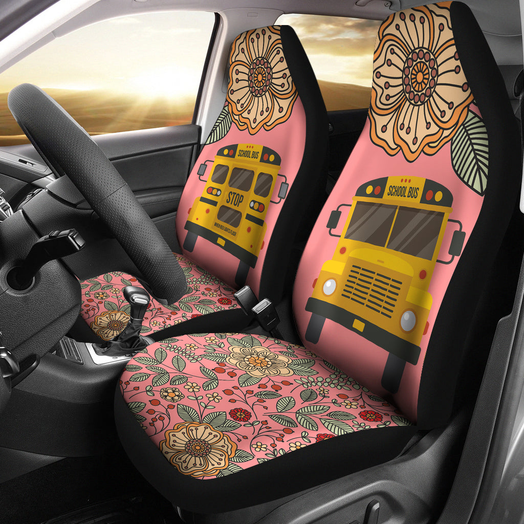 Floral School Bus Car Seat Covers Groove Bags