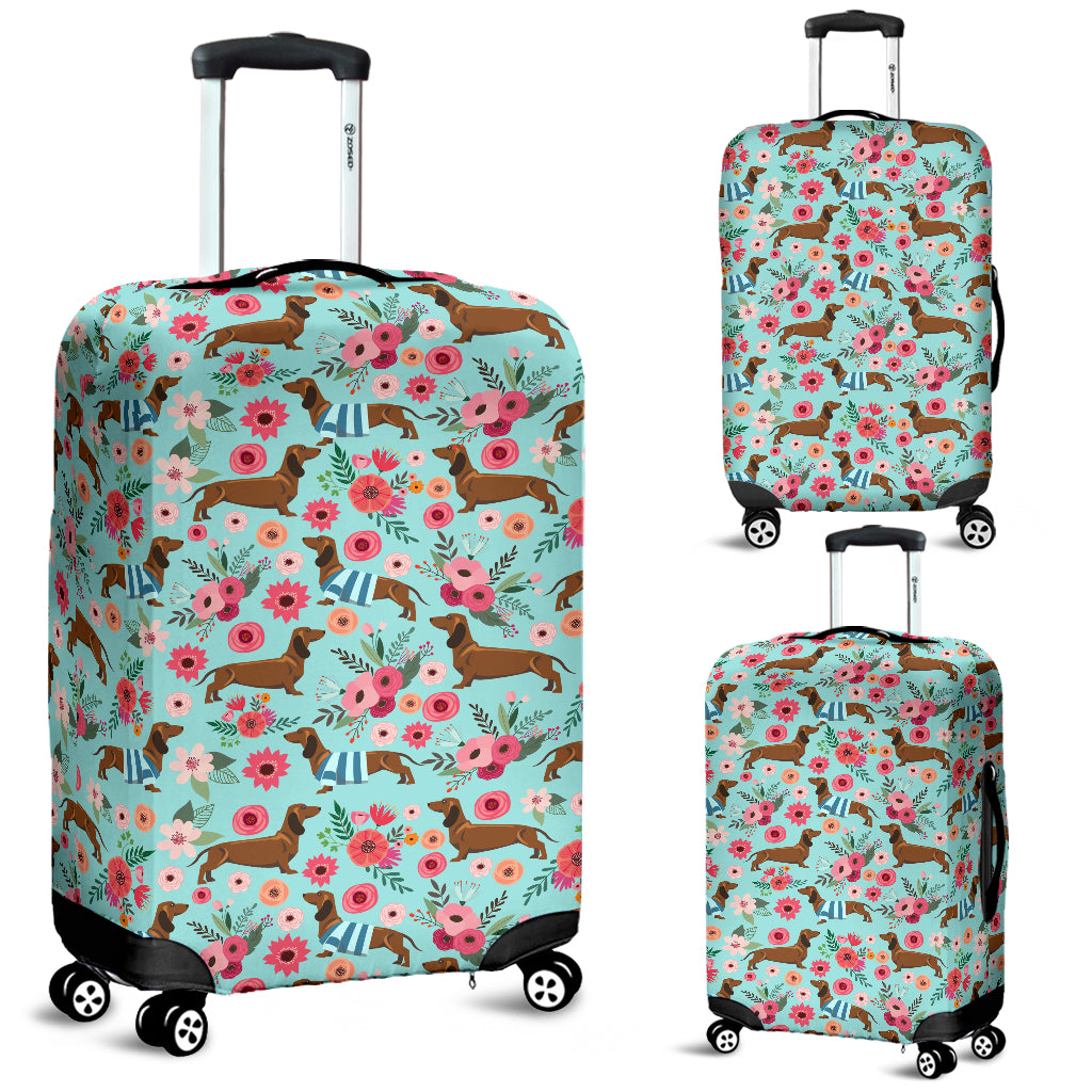 Dachshund Flower Luggage Cover