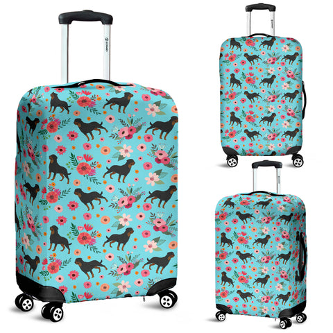 Rottweiler Flower Luggage Cover