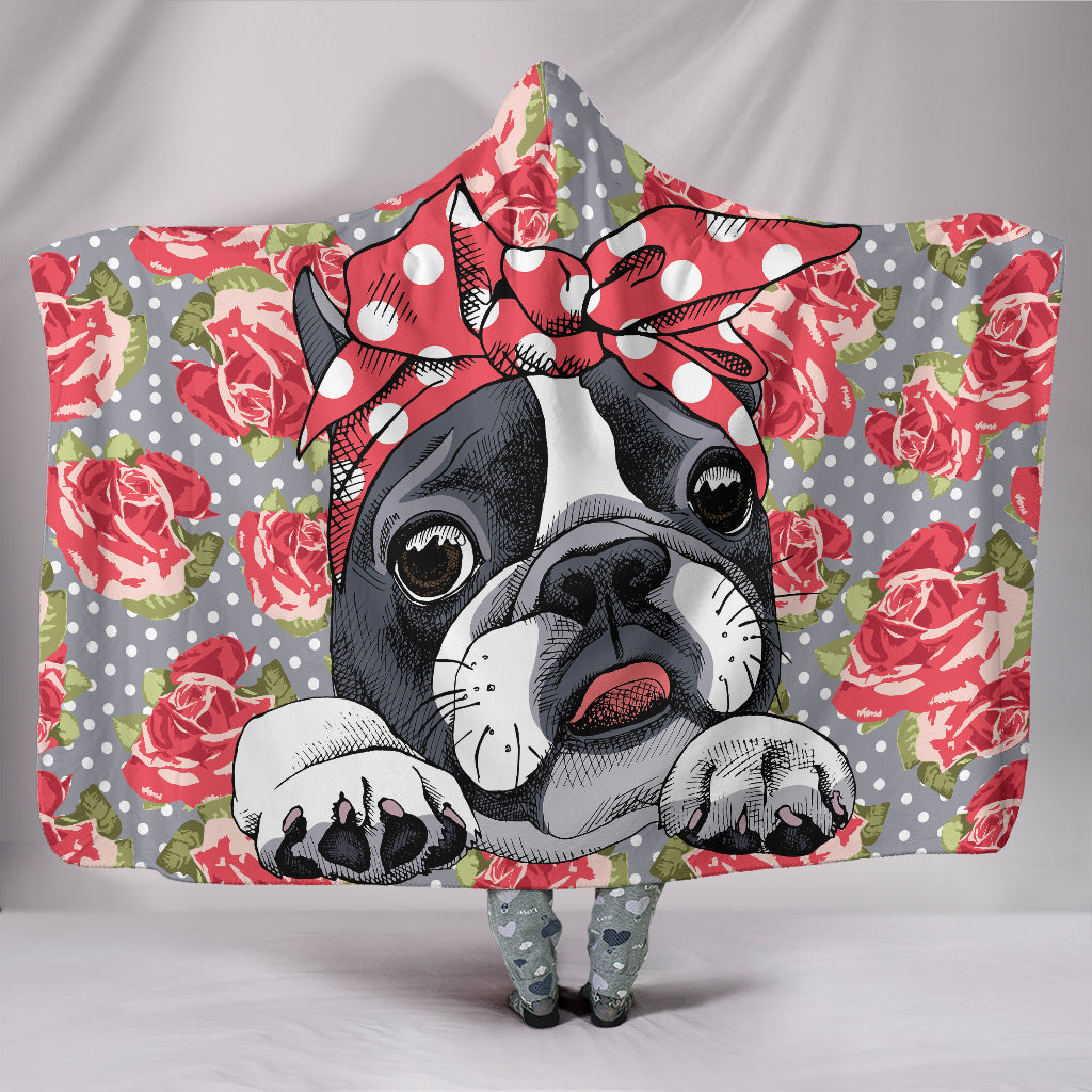 Floral Boston Terrier Hooded Blanket