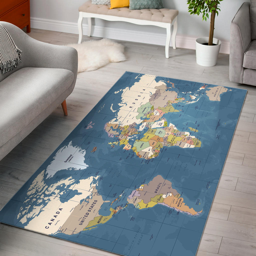 Blue World Map Area Rug Groove Bags