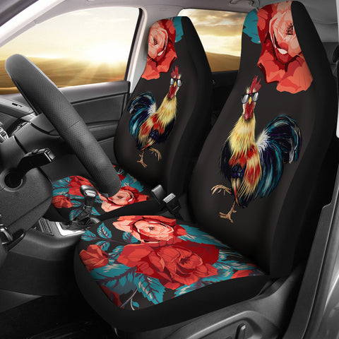 Rooster Rose Car Seat Covers
