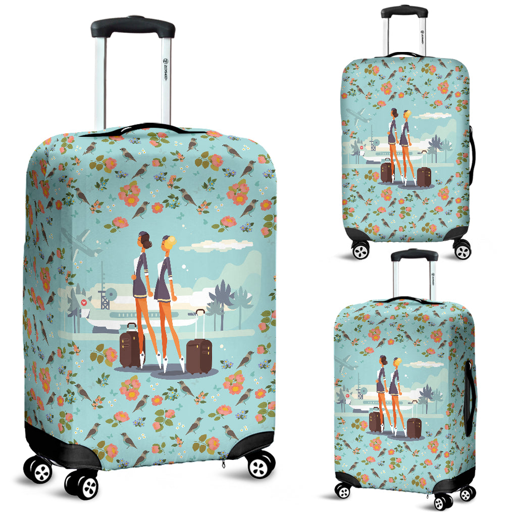 Floral Flight Attendant Luggage Cover