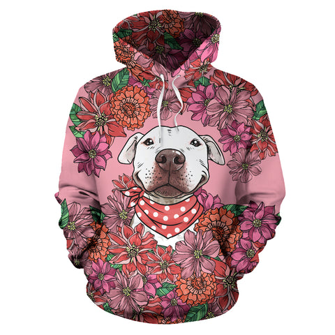 Illustrated Pit Bull All Over Print Hoodie