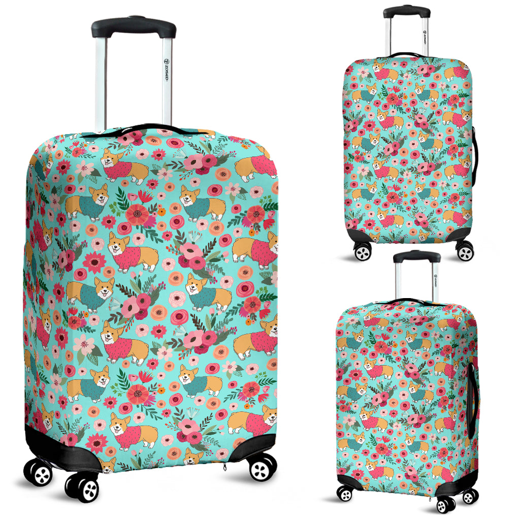 Corgi Flower Luggage Cover