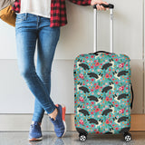 Border Collie Flower Luggage Cover