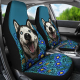 Illustrated Siberian Husky Car Seat Covers