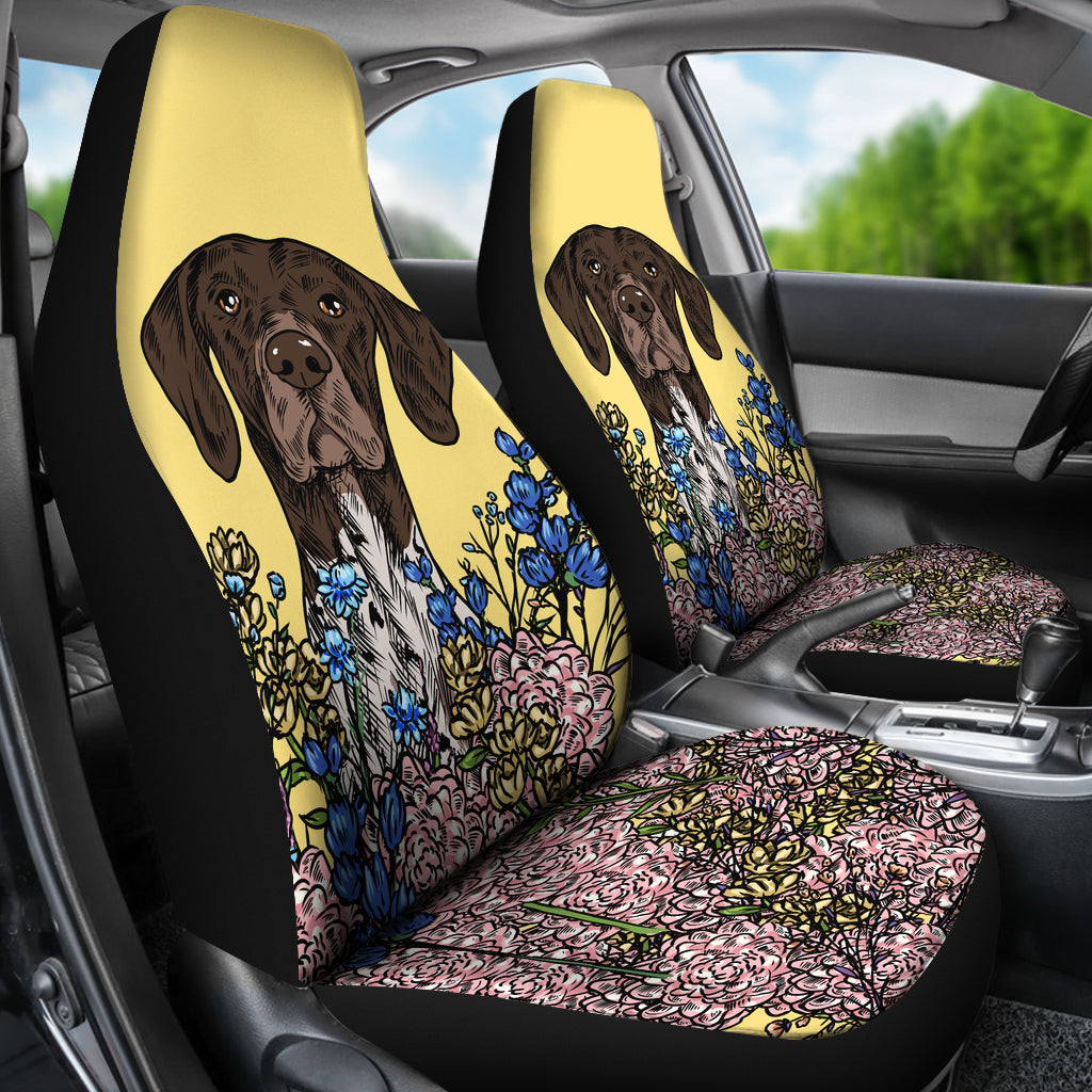 Illustrated German Shorthaired Pointer Car Seat Covers