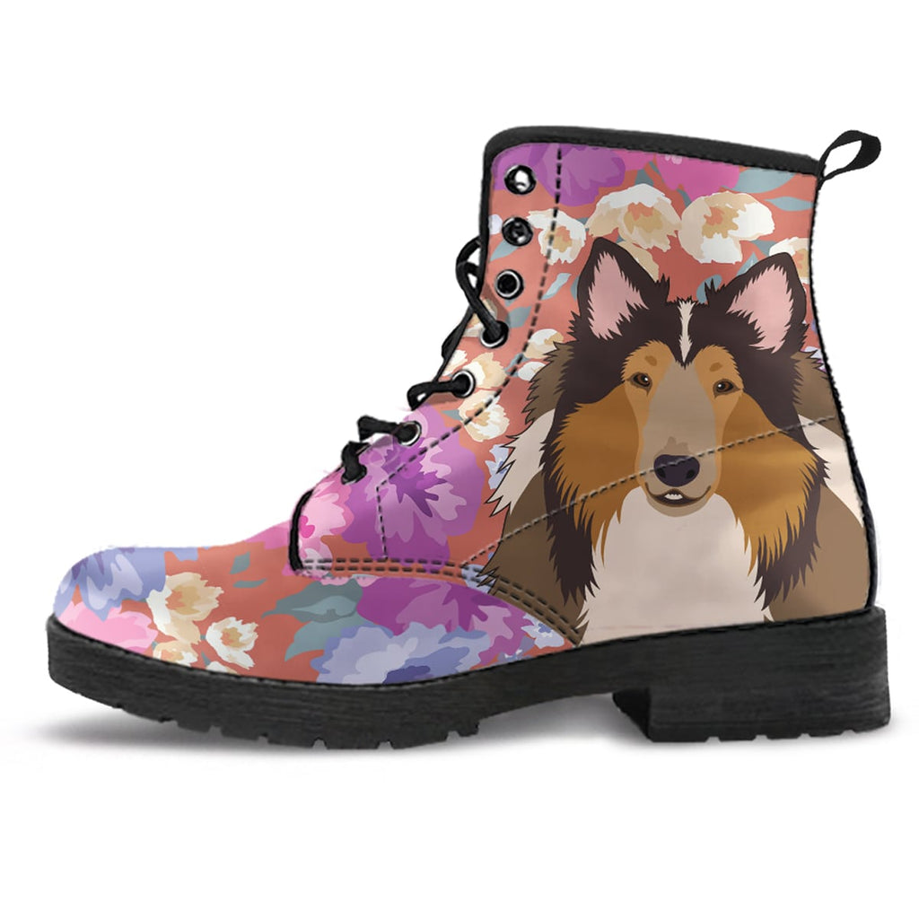 Rough Collie Dog Portrait Boots