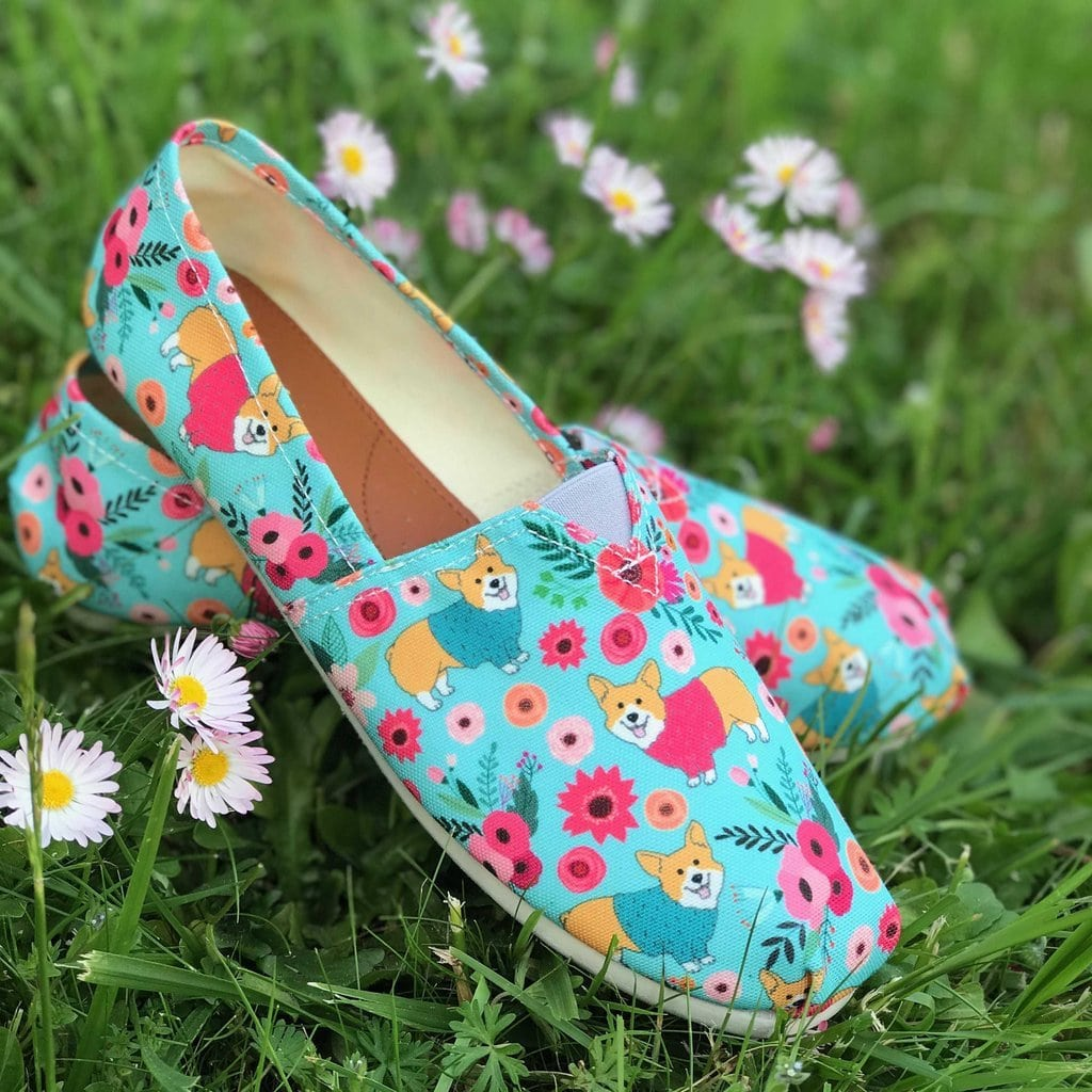 Corgi Flower Casual Shoes