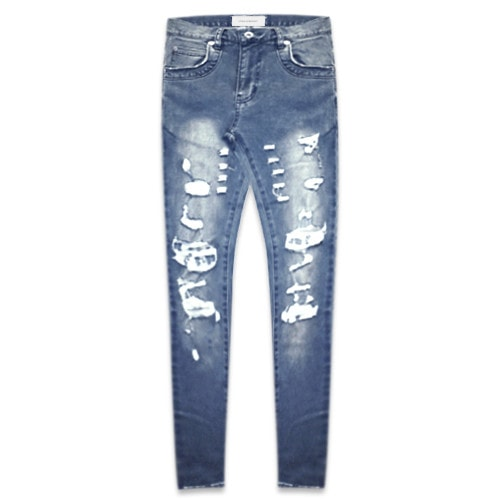 ONEFOUREIGHT Destroyed Skinny Denim - Brilliant Blue
