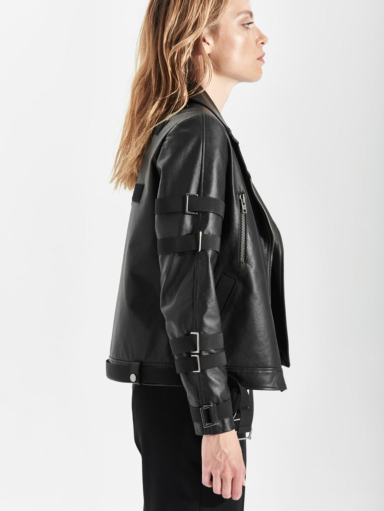 Womens Black Strapped Leather Jacket
