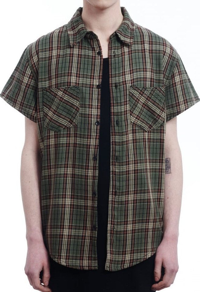 Short Sleeve Flannel Shirt - Rise Green