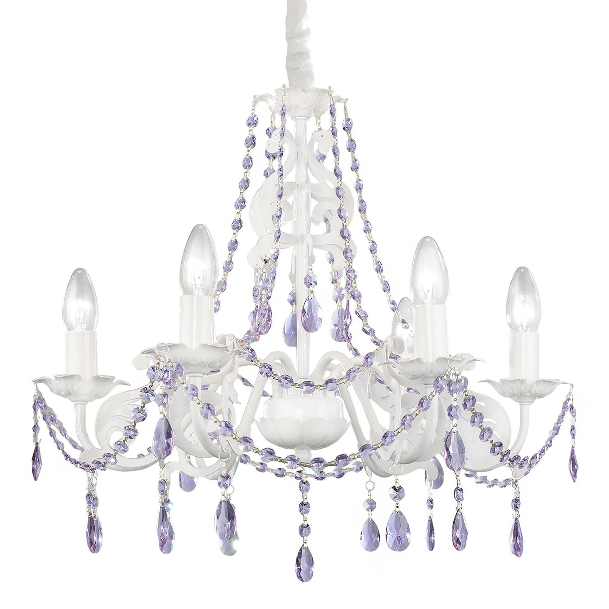 Ashley chandelier in purple nursery lighting firefly kids ashley 6 arm crystal chandelier purple mozeypictures Image collections