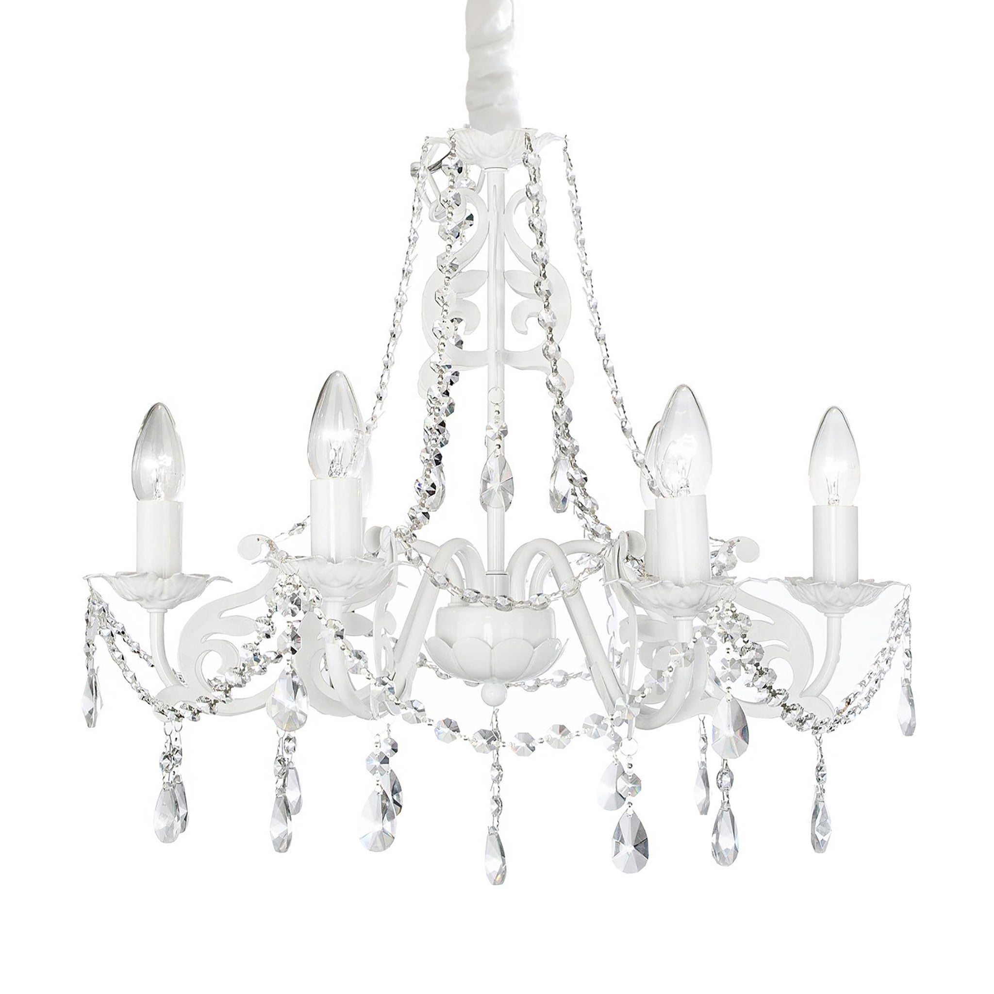 Ashley chandelier in white nursery chandelier firefly kids ashley 6 arm crystal chandelier white arubaitofo Image collections