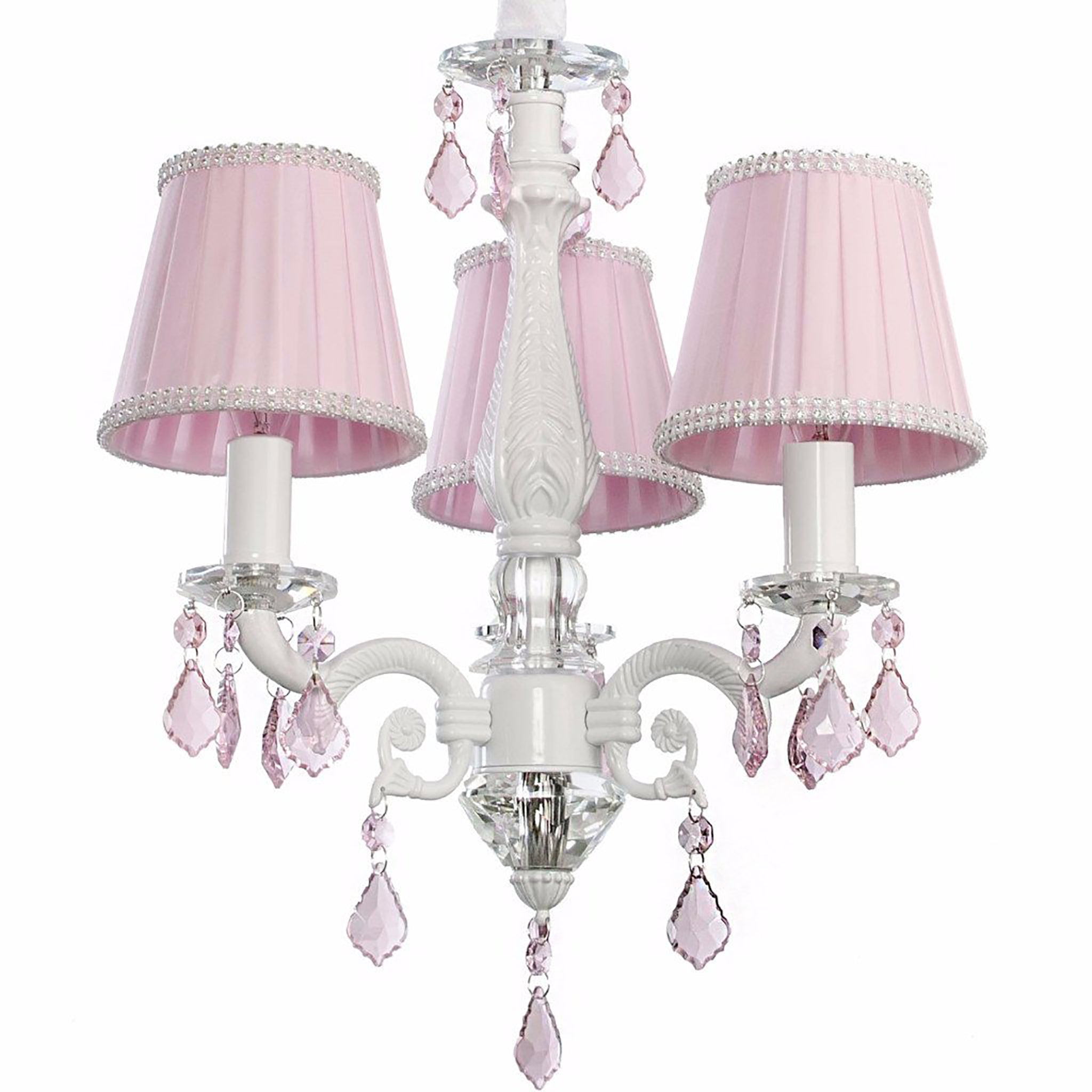 Charlotte chandelier in pink girls lighting firefly kids charlotte 3 arm crystal chandelier pink arubaitofo Choice Image