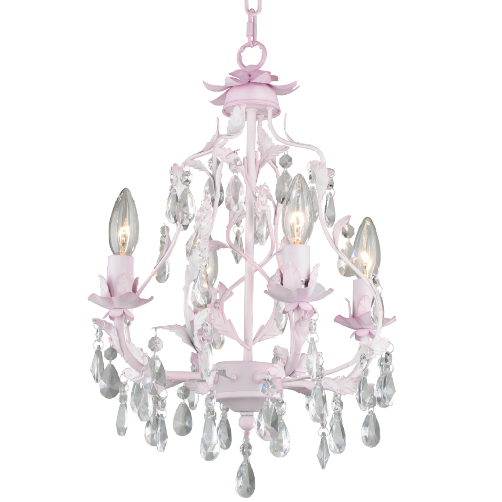 Girls lighting girls chandeliers kids lighting firefly kids isabella 4 arm crystal chandelier pink arubaitofo Choice Image
