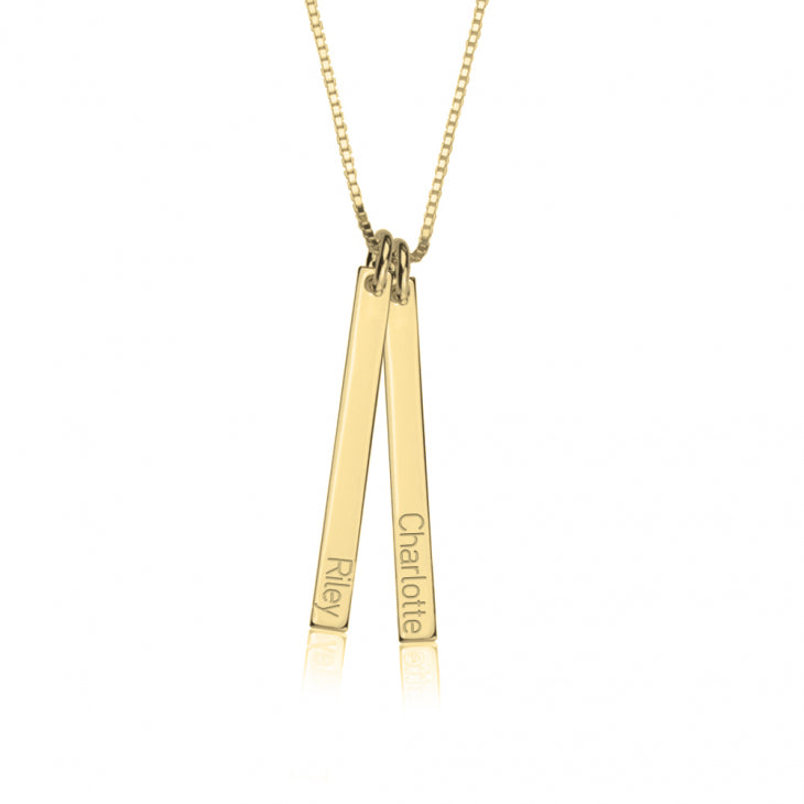 Double Thin Vertical Bar Necklace