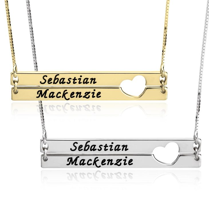 One Heart Double Name Necklace