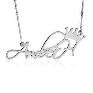 Fancy Crown Name Necklace