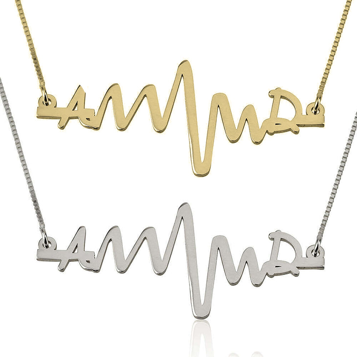 Heartbeat Initials Necklace