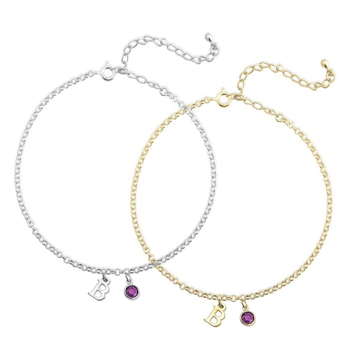 Initial Anklet with Birthstone